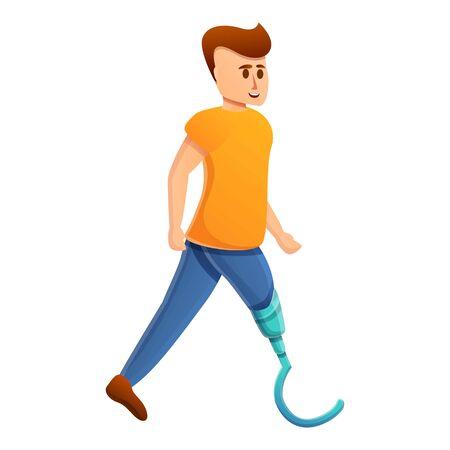 Boy artificial limb icon. Cartoon of boy artificial limb vector icon for web design isolated on white background