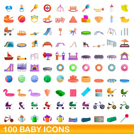 100 baby icons set. Cartoon illustration of 100 baby icons vector set isolated on white background Иллюстрация