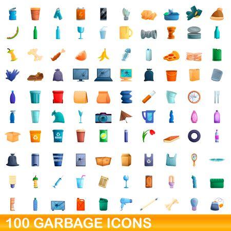 100 garbage icons set. Cartoon illustration of 100 garbage icons vector set isolated on white background Vektorgrafik