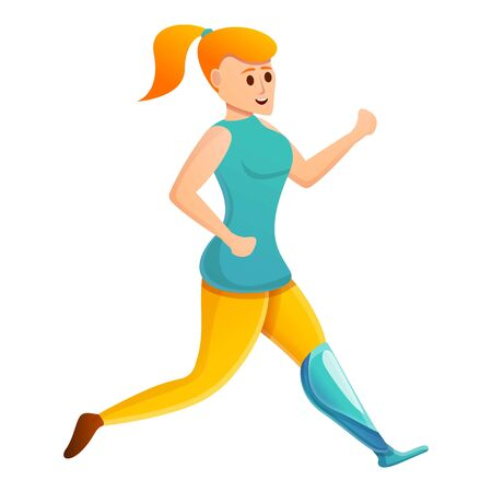 Sport woman prosthesis icon. Cartoon of sport woman prosthesis vector icon for web design isolated on white background 向量圖像