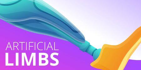 Artificial limbs concept banner. Cartoon illustration of artificial limbs vector concept banner for web design 向量圖像
