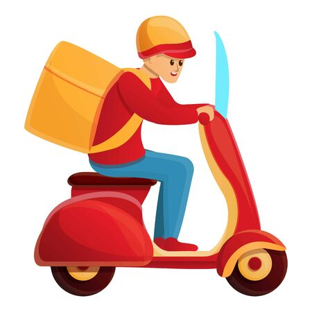 Fast bike delivery icon. Cartoon of fast bike delivery vector icon for web design isolated on white background