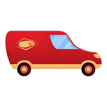 Pizza delivery van icon. Cartoon of pizza delivery van vector icon for web design isolated on white background