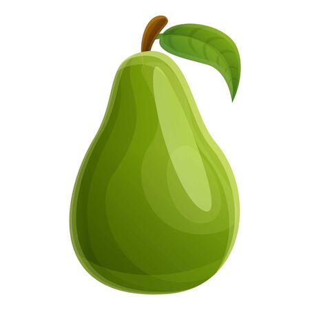 Whole green avocado icon. Cartoon of whole green avocado vector icon for web design isolated on white background