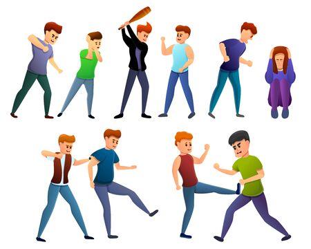 Violence icons set. Cartoon set of violence vector icons for web design