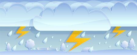 Thunderbolt storm concept banner. Cartoon illustration of thunderbolt storm vector concept banner for web design Çizim
