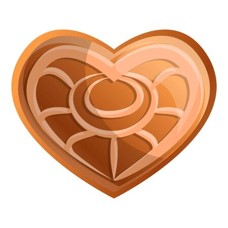 Heart gingerbread icon. Cartoon of heart gingerbread vector icon for web design isolated on white background