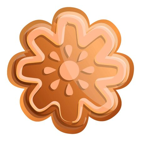 Snowflake gingerbread icon. Cartoon of snowflake gingerbread vector icon for web design isolated on white background
