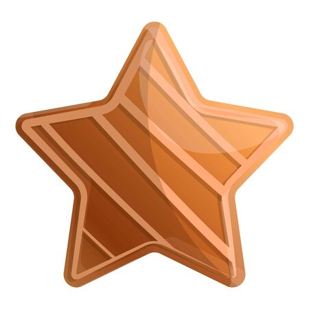 Gingerbread star icon. Cartoon of gingerbread star vector icon for web design isolated on white background Çizim