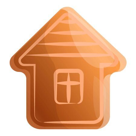Gingerbread house icon. Cartoon of gingerbread house vector icon for web design isolated on white background