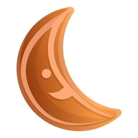 Gingerbread moon icon. Cartoon of gingerbread moon vector icon for web design isolated on white background