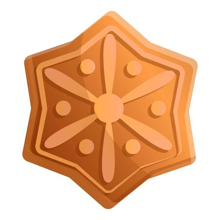 Gingerbread snowflake icon. Cartoon of gingerbread snowflake vector icon for web design isolated on white background Ilustrace