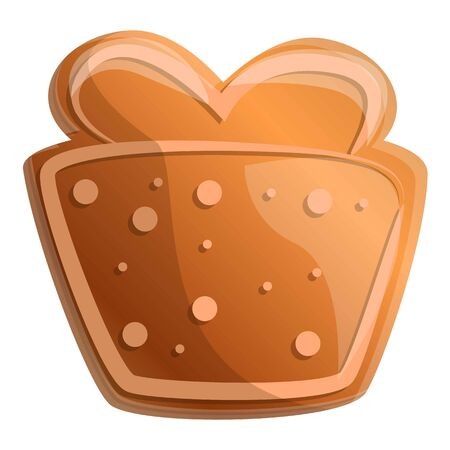 Gingerbread gift box icon. Cartoon of gingerbread gift box vector icon for web design isolated on white background Çizim