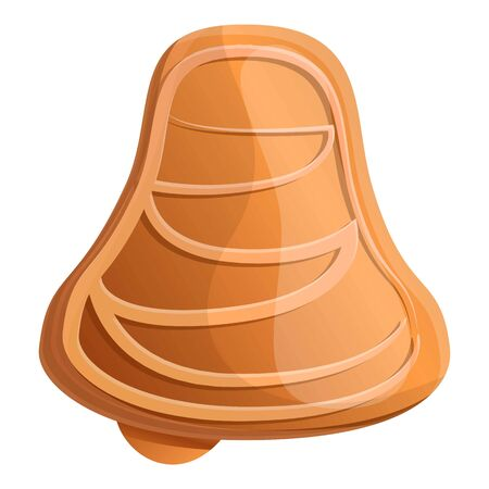 Gingerbread bell icon. Cartoon of gingerbread bell vector icon for web design isolated on white background