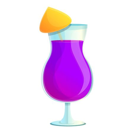 Violet cocktail icon. Cartoon of violet cocktail vector icon for web design isolated on white background