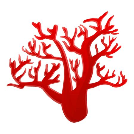 Red marine coral icon. Cartoon of red marine coral vector icon for web design isolated on white background