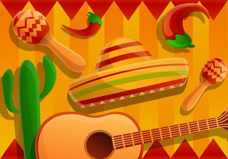 Mexican fiesta concept banner. Cartoon illustration of mexican fiesta vector concept banner for web design Çizim