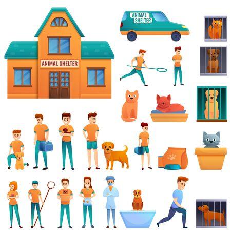 Homeless shelter icons set. Cartoon set of homeless shelter vector icons for web design Illustration