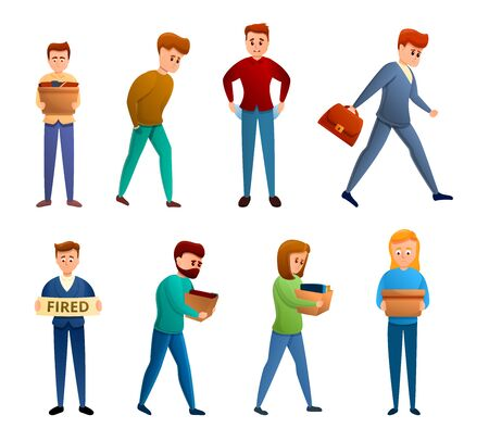 Unemployed icons set. Cartoon set of unemployed vector icons for web design