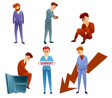 Bankrupt icons set. Cartoon set of bankrupt vector icons for web design