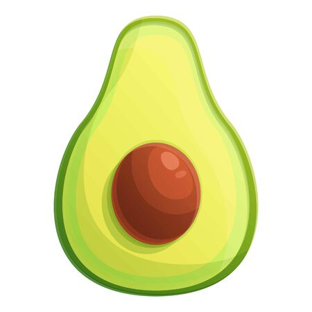 Half seed avocado icon. Cartoon of half seed avocado vector icon for web design isolated on white background
