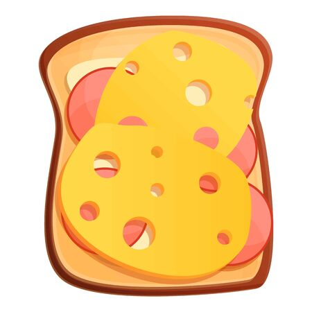 Toast cheese icon. Cartoon of toast cheese vector icon for web design isolated on white background