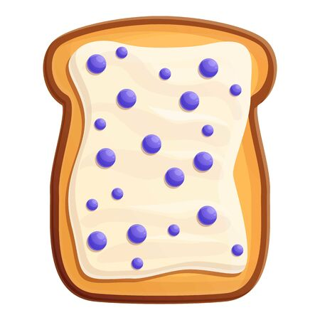Toast butter berry icon. Cartoon of toast butter berry vector icon for web design isolated on white background