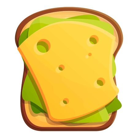 Morning toast cheese icon. Cartoon of morning toast cheese vector icon for web design isolated on white background Ilustracja