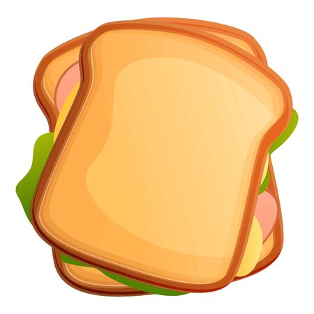 School lunch toast icon. Cartoon of school lunch toast vector icon for web design isolated on white background Иллюстрация