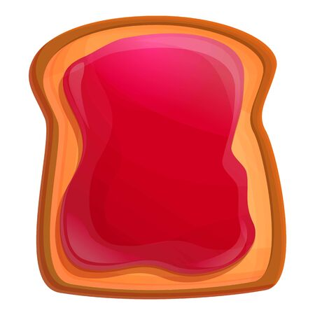 Berry jam toast icon. Cartoon of berry jam toast vector icon for web design isolated on white background