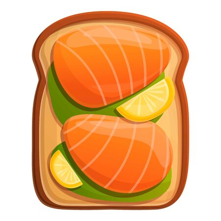 Lemon salmon toast icon. Cartoon of lemon salmon toast vector icon for web design isolated on white background