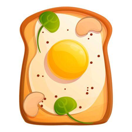 Morning fried egg toast icon. Cartoon of morning fried egg toast vector icon for web design isolated on white background Çizim