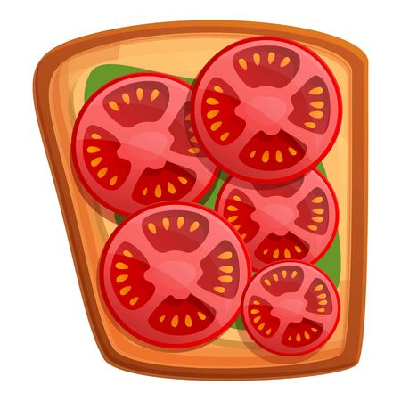 Sliced tomato toast icon. Cartoon of sliced tomato toast vector icon for web design isolated on white background