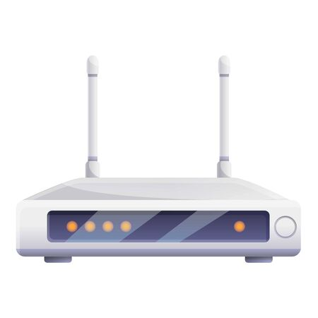 Digital router icon. Cartoon of digital router vector icon for web design isolated on white background Çizim