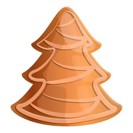 Gingerbread fir tree icon. Cartoon of gingerbread fir tree vector icon for web design isolated on white background