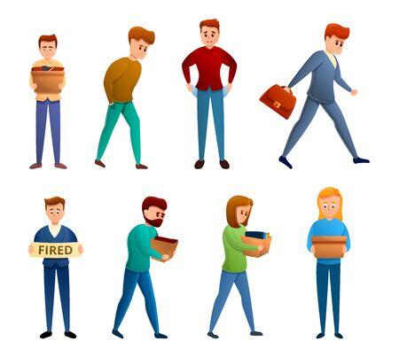 Unemployed icons set. Cartoon set of unemployed vector icons for web design Çizim