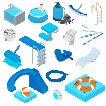 Pool equipment icons set. Isometric set of pool equipment vector icons for web design isolated on white background Ilustrace