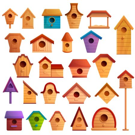 Bird house icons set. Cartoon set of bird house vector icons for web design Иллюстрация