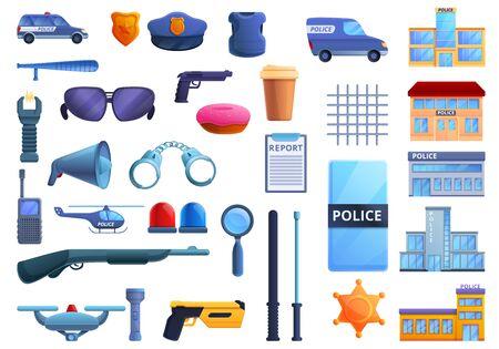 Police station icons set. Cartoon set of police station vector icons for web design Ilustracje wektorowe