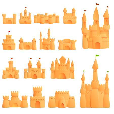 Castle sand icons set. Cartoon set of castle sand vector icons for web design