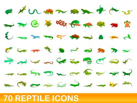 70 reptile icons set. Cartoon illustration of 70 reptile icons vector set isolated on white background Иллюстрация