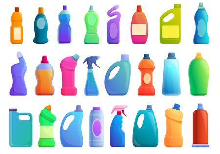 Bleach icons set. Cartoon set of bleach vector icons for web design Stock Illustratie