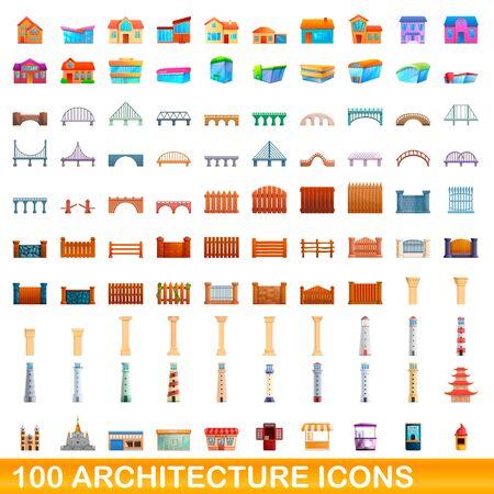 100 architecture icons set. Cartoon illustration of 100 architecture icons vector set isolated on white background