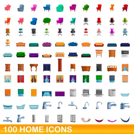 100 home icons set. Cartoon illustration of 100 home icons vector set isolated on white background Stock Illustratie