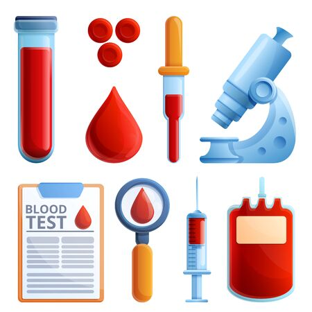 Blood test icons set. Cartoon set of blood test vector icons for web design