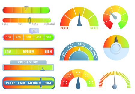 Credit score icons set. Cartoon set of credit score vector icons for web design 版權商用圖片 - 135268946