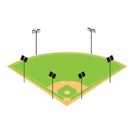 Baseball field icon. Isometric of baseball field vector icon for web design isolated on white background