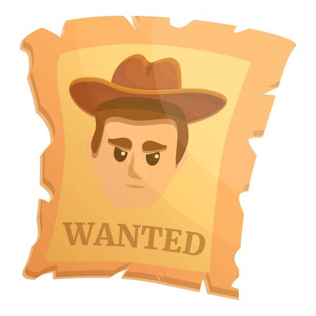 Wanted western paper icon. Cartoon of wanted western paper vector icon for web design isolated on white background Vectores