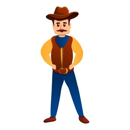 Serious cowboy icon. Cartoon of serious cowboy vector icon for web design isolated on white background