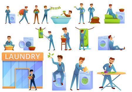 Money laundering icons set. Cartoon set of money laundering vector icons for web design Vector Illustration